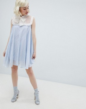 photo Smock Dress with Pussybow in Sparkle Fabric by Sister Jane, color Light Blue - Image 4