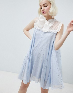 photo Smock Dress with Pussybow in Sparkle Fabric by Sister Jane, color Light Blue - Image 1