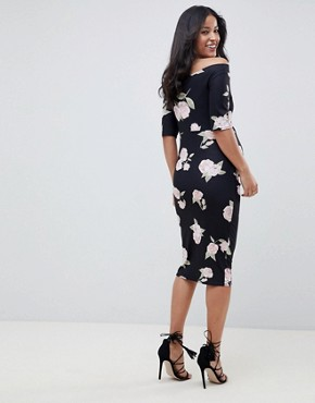 photo Maternity Bardot Bodycon Dress with Half Sleeves in Floral Print by ASOS DESIGN, color Multi - Image 2