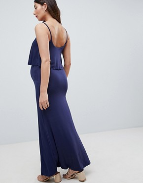 photo Double Layer Maxi Dress by New Look Maternity, color Navy - Image 2