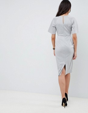 photo Knot Front Shift Dress by ASOS DESIGN, color Grey Marl - Image 2