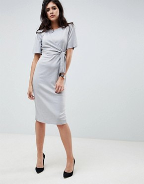 photo Knot Front Shift Dress by ASOS DESIGN, color Grey Marl - Image 1