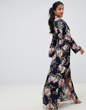 photo Satin Wrap Maxi Dress in Navy Floral Print by ASOS DESIGN Petite, color Multi - Image 2