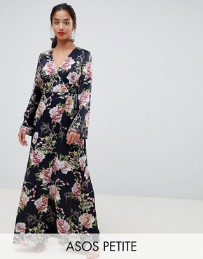 photo Satin Wrap Maxi Dress in Navy Floral Print by ASOS DESIGN Petite, color Multi - Image 1