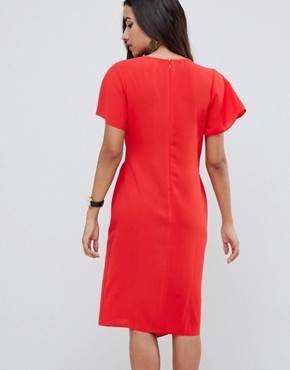 photo Drape Front Midi Pencil Dress with Elastic Detail by ASOS DESIGN, color Red - Image 2