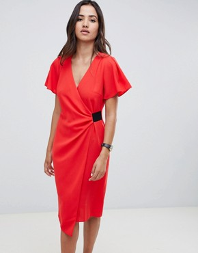 photo Drape Front Midi Pencil Dress with Elastic Detail by ASOS DESIGN, color Red - Image 1