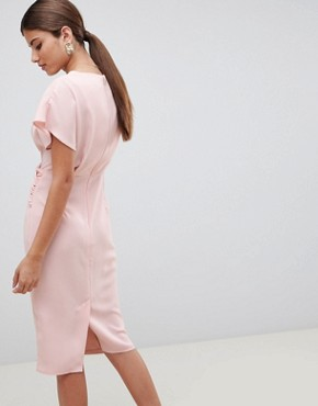 photo Twist Midi Dress with Kimono Sleeve by ASOS, color Nude - Image 2