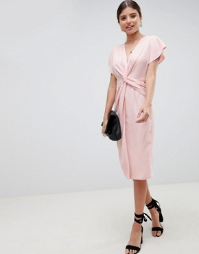 photo Twist Midi Dress with Kimono Sleeve by ASOS, color Nude - Image 1