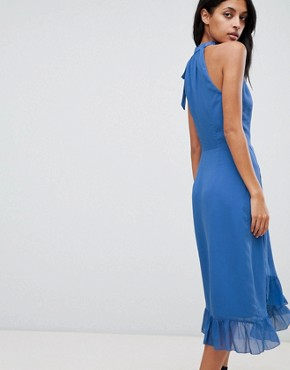 photo Frill Detail Halter Maxi Dress by Warehouse, color Blue - Image 2