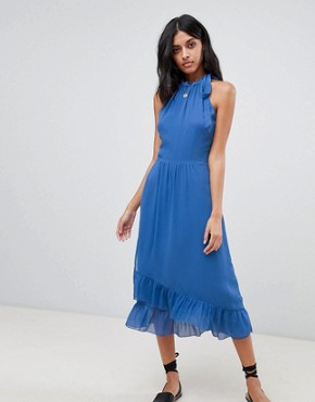 photo Frill Detail Halter Maxi Dress by Warehouse, color Blue - Image 1