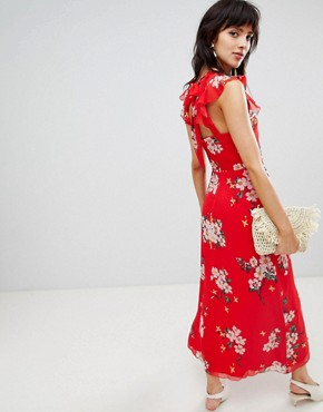 photo Midi Dress with Ruffle Detail in Floral Print by Warehouse, color Red - Image 2