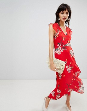 photo Midi Dress with Ruffle Detail in Floral Print by Warehouse, color Red - Image 1
