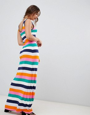 photo Rainbow Stripe Jersey Maxi Dress by Warehouse, color Multi - Image 2