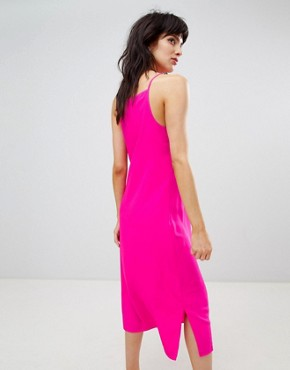 photo Midi Dress with High Neck in Bright Pink by Warehouse, color Pink - Image 2