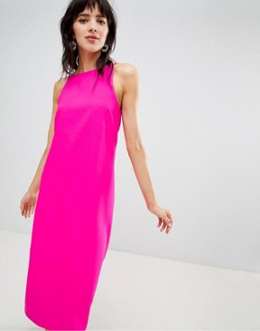 photo Midi Dress with High Neck in Bright Pink by Warehouse, color Pink - Image 1