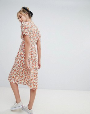 photo Midi Dress in Floral Print by Reclaimed Vintage Inspired, color Multi - Image 2