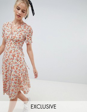 photo Midi Dress in Floral Print by Reclaimed Vintage Inspired, color Multi - Image 1