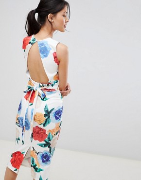 photo Midi Bodycon Dress in Print by True Violet, color Multi Floral - Image 2