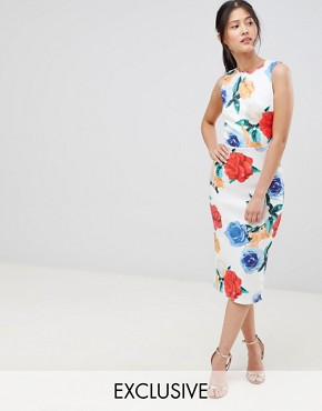 photo Midi Bodycon Dress in Print by True Violet, color Multi Floral - Image 1