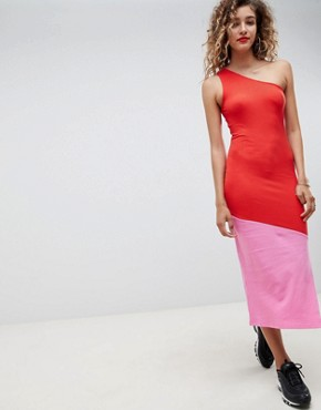 photo Rib Colour Block Maxi Dress by ASOS DESIGN, color Pink/Red - Image 1