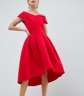 photo Cross Front Bardot Skater Prom Dress in Red by True Violet, color Red - Image 1