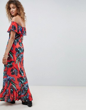 photo Off Shoulder Maxi Sundress with Tiered Skirt in Tropical Print by ASOS DESIGN, color Tropical Print - Image 2