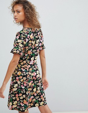 photo Button Through Tea Dress with Frill Sleeve in Summer Floral Print by ASOS DESIGN, color Summer Floral - Image 2