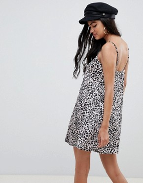 photo Mini Slinky Swing Dress in Leopard Print by ASOS DESIGN, color Leopard Print - Image 2