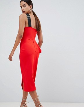 photo Pencil Dress with Peplum Waist and Contrast Straps by ASOS DESIGN, color Red - Image 2