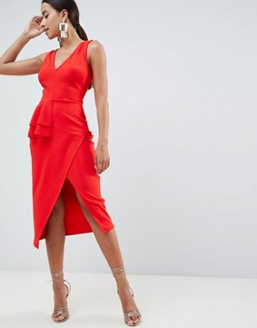 photo Pencil Dress with Peplum Waist and Contrast Straps by ASOS DESIGN, color Red - Image 1