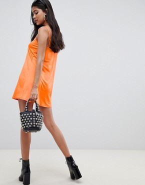 photo Mini Slinky Swing Dress by ASOS DESIGN, color Bright Orange - Image 2
