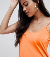 photo Mini Slinky Swing Dress by ASOS DESIGN, color Bright Orange - Image 3