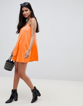 photo Mini Slinky Swing Dress by ASOS DESIGN, color Bright Orange - Image 4
