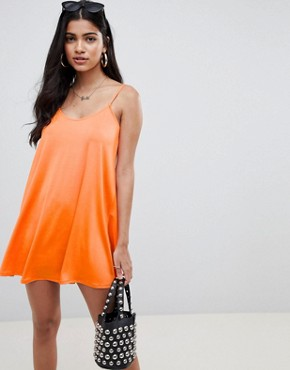 photo Mini Slinky Swing Dress by ASOS DESIGN, color Bright Orange - Image 1