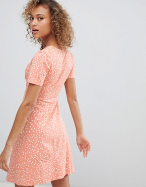 photo Mini Tea Dress in Scatter Spot by ASOS DESIGN Ultimate, color Peach - Image 2