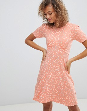 photo Mini Tea Dress in Scatter Spot by ASOS DESIGN Ultimate, color Peach - Image 1