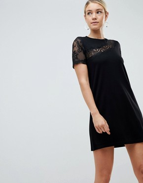 photo Lace Insert Shift Dress by ASOS DESIGN, color Black - Image 1