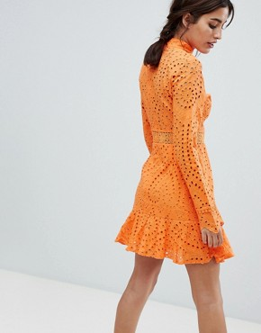 photo High Neck Cutwork Lace Mini Skater Dress by Lioness, color Tangerine Orange - Image 2