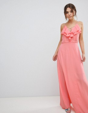 photo Ruffle Maxi Dress by New Look, color Dark Coral - Image 1