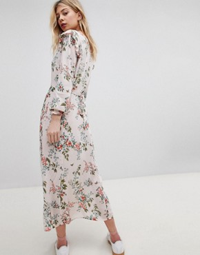 photo Button Front Floral Printed Maxi Tea Dress by New Look, color Pink Print - Image 2