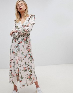 photo Button Front Floral Printed Maxi Tea Dress by New Look, color Pink Print - Image 1