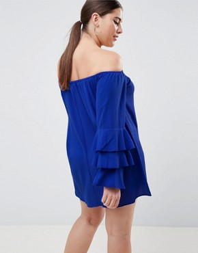 photo Tiered Sleeve Off the Shoulder Dress by AX Paris Plus, color Navy - Image 2