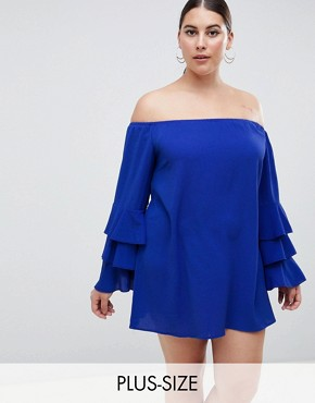 photo Tiered Sleeve Off the Shoulder Dress by AX Paris Plus, color Navy - Image 1