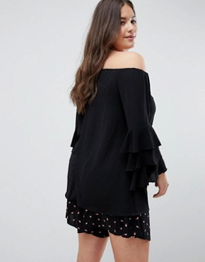 photo Tiered Sleeve Off the Shoulder Dress by AX Paris Plus, color Black - Image 2
