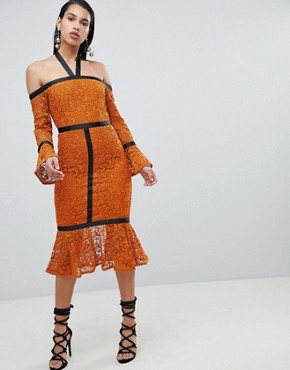 photo Long Sleeve Pencil Dress with Pephem by the 8th Sign, color Rust - Image 1