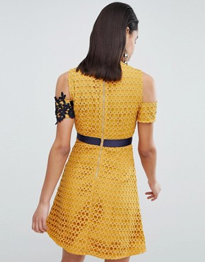 photo Lace Skater Dress with Embroidered Detail by the 8th Sign, color Mustard - Image 2
