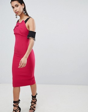 photo Pencil Midi Dress with Lace Sleeve Detail by the 8th Sign, color Pink - Image 1