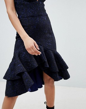 photo Cami Midi Dress with Frill Hem by the 8th Sign, color Navy Black - Image 3