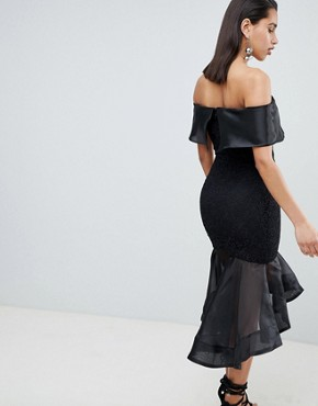 photo Bardot Dress with Contrast Fishtail Detail by the 8th Sign, color Black - Image 2