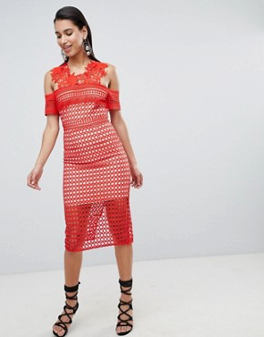 photo Pencil Dress with Lace Embroidered Detail by the 8th Sign, color Red - Image 4